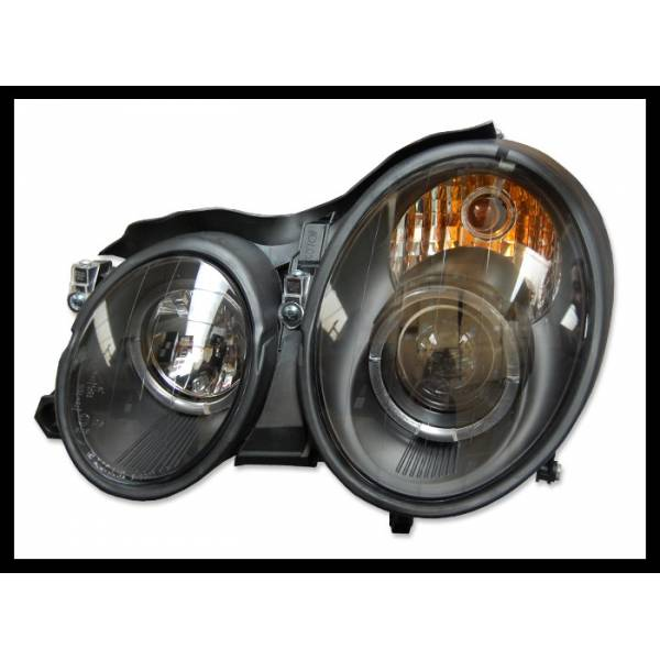 HEADLIGHTS ANGEL EYES BLACK MERCEDES CLK W208 '98