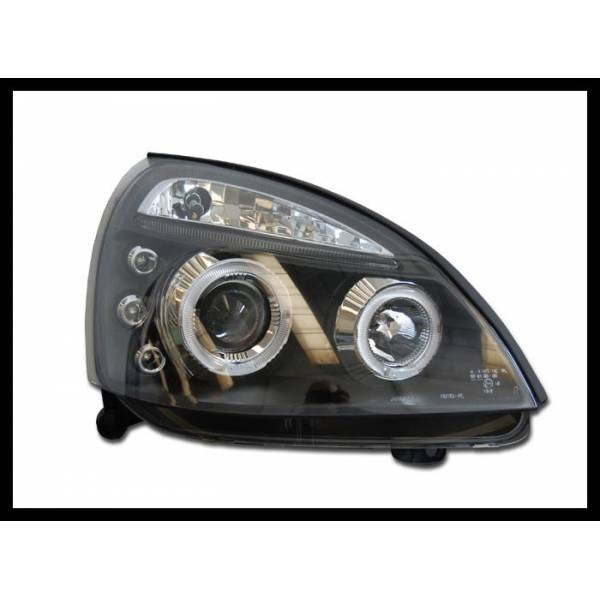 HEADLIGHTS ANGEL EYES RENAULT CLIO '02 BLACK MOD. II