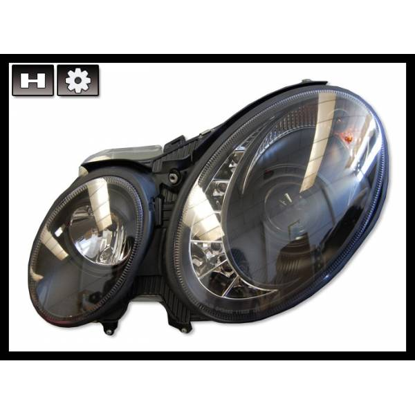 DAYLIGHT HEADLIGHTS MERCEDES W211 BLACK 02-06 H7-H7