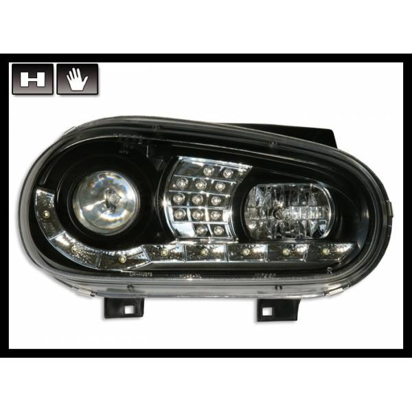 DAYLIGHT SCHEINWERFER VOLKSWAGEN GOLF 4 BLACK FLASHING LED