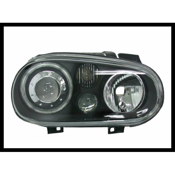 HEADLIGHTS ANGEL EYES BLACK VOLKSWAGEN GOLF 4