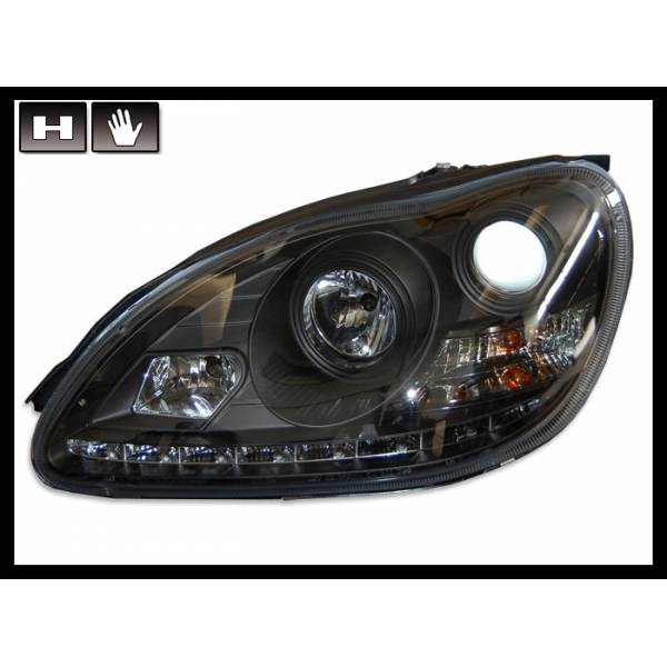 DAYLIGHT HEADLIGHTS MERCEDES W220 '98'05, BLACK