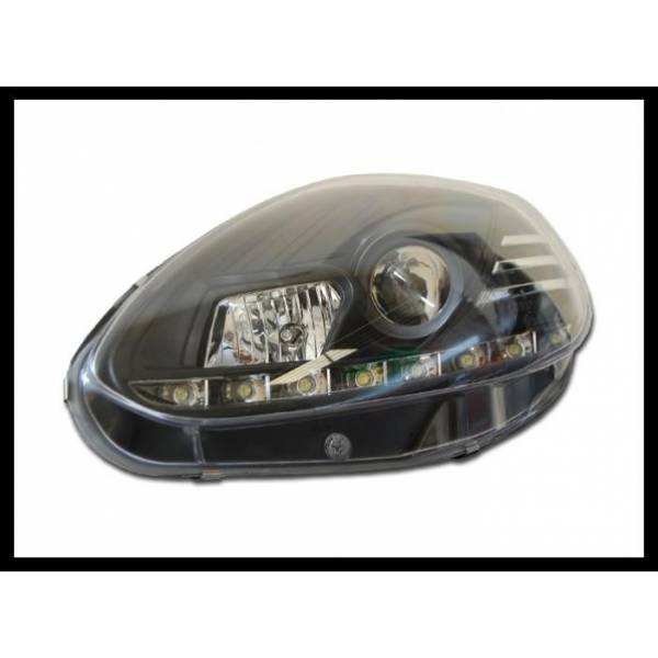 HEADLIGHTS FIAT PUNTO EVO 2009 REAL BLACK DAYLIGHT