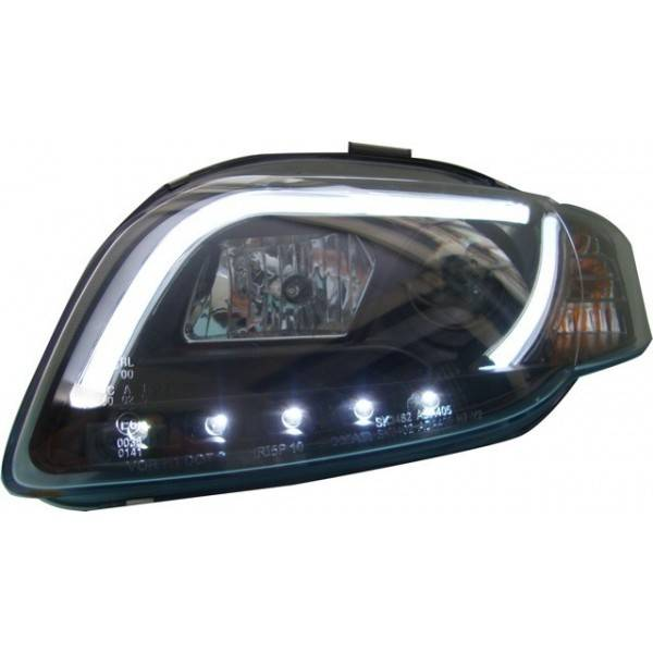 HEADLIGHTS AUDI A4 BLACK LIGHT DAY LTI 05-08