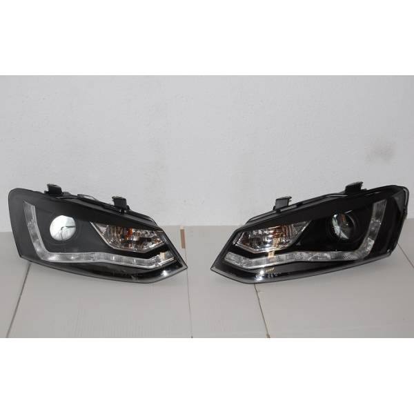 VOLKSWAGEN POLO 09 HEADLIGHTS DAY LIGHT BLACK
