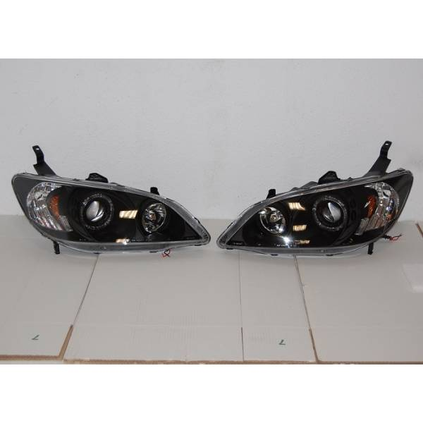 HEADLIGHTS ANGEL EYES BLACK HONDA CIVIC '04 4P