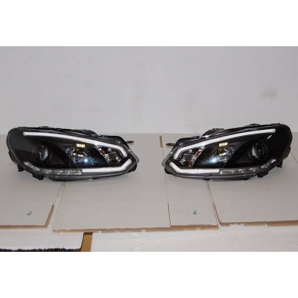 DAYLIGHT HEADLIGHTS REAL VOLKSWAGEN GOLF 6 2009-2012 BLACK