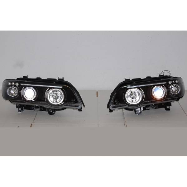 HEADLIGHTS ANGEL EYES BLACK BMW X5 '01