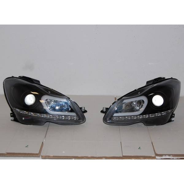 DAYLIGHT FARÓIS 2011-2013 MERCEDES W204 PRETO INTERM. LED