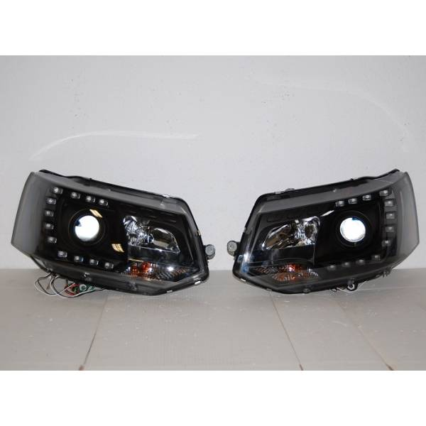 HEADLIGHTS DAY LIGHT DRL REAL BLACK VOLKSWAGEN T5