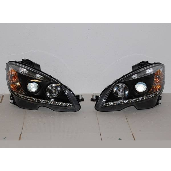 DAYLIGHT HEADLIGHTS MERCEDES W204 '07 -'10 BLACK