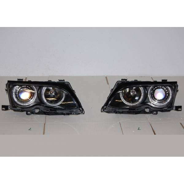 HEADLIGHTS ANGEL EYES BMW E46 '02 / '05 4P. ELECT. BLACK