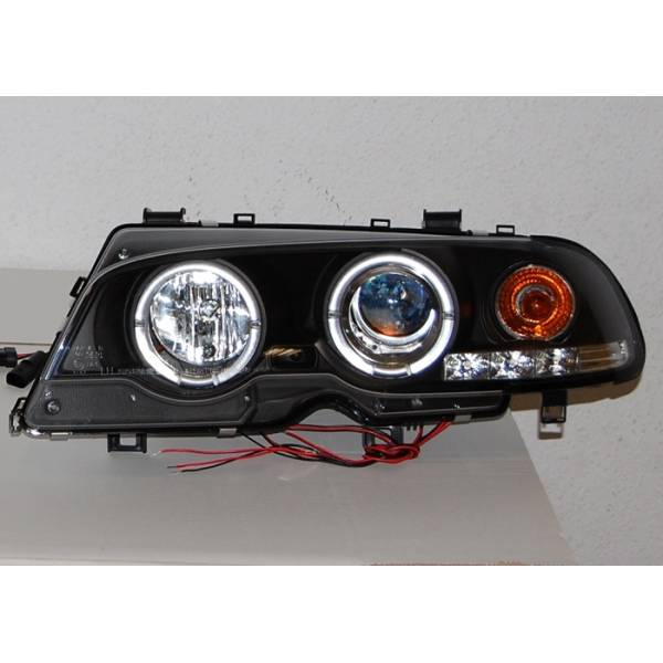 SCHEINWERFER ANGEL EYES BMW E46 '99 -02 2P. ELECT. BLACK MOD.II