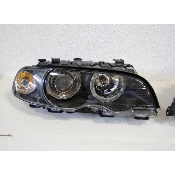 FARÓIS ANGEL EYES BMW E46 '99 -02 2P. PRETO