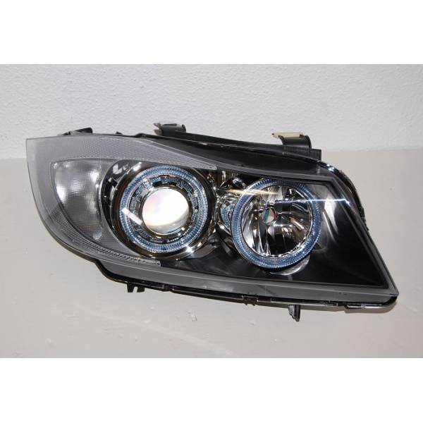 HEADLIGHTS ANGEL EYES BMW E90 / E91 BLACK ELEC '05
