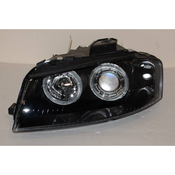 FARÓIS ANGEL EYES PRETO AUDI A3 '03 -08
