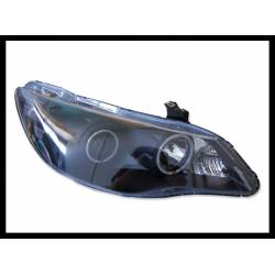 Set Of Headlamps Angel Eyes Honda Civic 2006, 4 Doors, Black