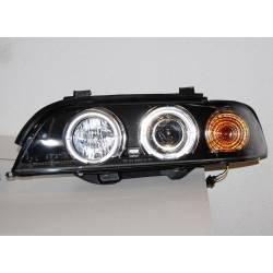 Set Of Headlamps Angel Eyes BMW E39 '95-03, 4 Doors, Black