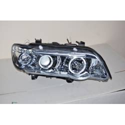 Set Of Headlamps Angel Eyes BMW X5 2001, Chromed.
