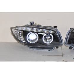 Set Of Headlamps Day Light BMW E87 2007-2011 Black & Blinker Led