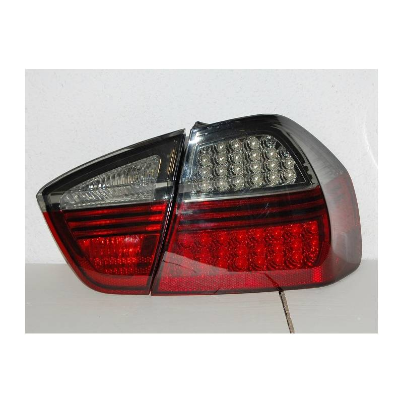Set Of Rear Tail Lights Bmw E90 2005 4 Door Led Red Smoked