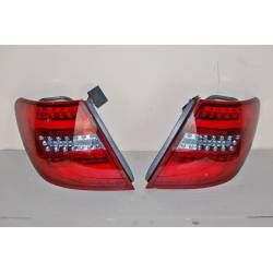 Set Of Rear Tail Lights Mercedes W204 2011-2014 Led Red Clear