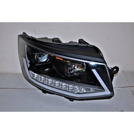 Set Of Headlamps Real Day Light Volkswagen T6 Black DRL