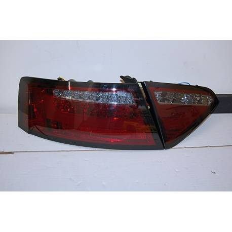 Set Of Rear Tail Lights Audi A5 2-4D 07-09 Led Red/Smoked Cardna Flashing Led
