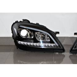 Set Of Headlamps Day Light Mercedes W164 05-08 Led sequential flashing Black