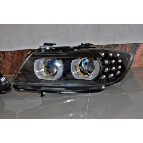 Faros Delanteros Luz De Dia BMW E90 '09-11 Xenon DRL Black