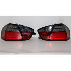 Set Of Rear Tail Lights Cardna BMW E90 2005, Lightbar Red/Smoked