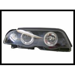 Set Of Headlamps Angel Eyes BMW E46 1998-2001, 4 Doors, Black, With Blinker