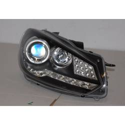 Set Of Headlamps Day Light Volkswagen Golf 6 09-13 & Blinker Led