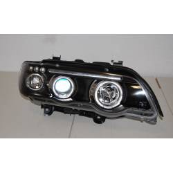 Set Of Headlamps Angel Eyes BMW X5 2001, Black