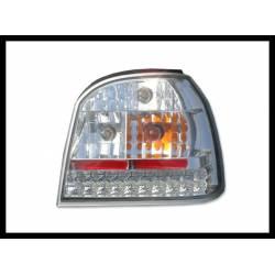 Set Of Rear Tail Lights Volkswagen Golf 3, Led Chromed