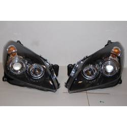 Set Of Headlamps Angel Eyes Opel Astra H Black