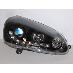Set Of Headlamps Day Light Volkswagen Golf 5 Black