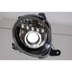 Set Of Headlamps Day Light Fiat 500 Black