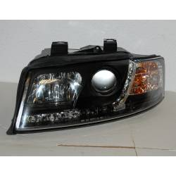 Set Of Headlamps Day Light Audi A4 2002-2004, Black