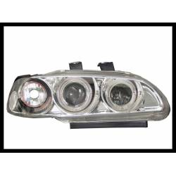 Set Of Headlamps Angel Eyes Honda Civic 1992-1995, 4 Doors, Chromed