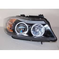 Set Of Headlamps Angel Eyes BMW E90 / E91 2005-2008 Black