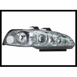 Set Of Headlamps Angel Eyes Honda Civic 1992-1995, 3 Doors, Chromed, Model III